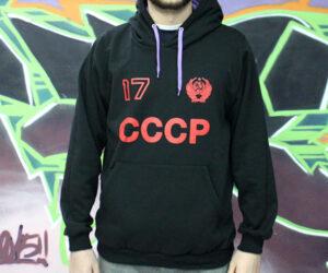 sudadera cccp negra y roja kollontai