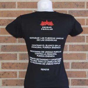 camiseta unidad popular mujer trasera