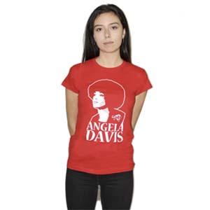 camiseta angela davis roja mujer