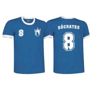 camiseta socrates brasil azul