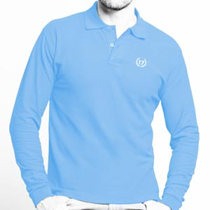 polo 17 sky blue manga larga