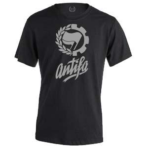 camiseta antifa negra plata