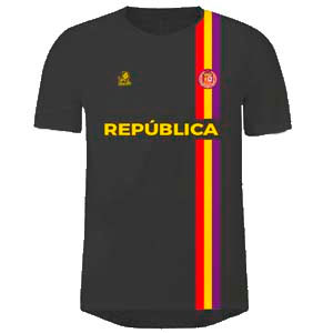 camiseta de futbol republica española negra y amarilla
